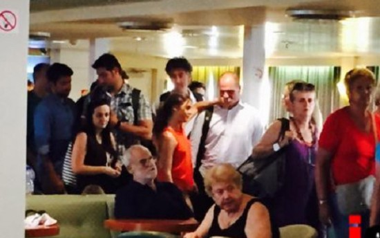 Varoufakis and family on the ferry to Aegina